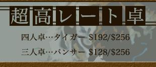 三人麻雀卓の超高レート。その名もパンサー! $192/$288
